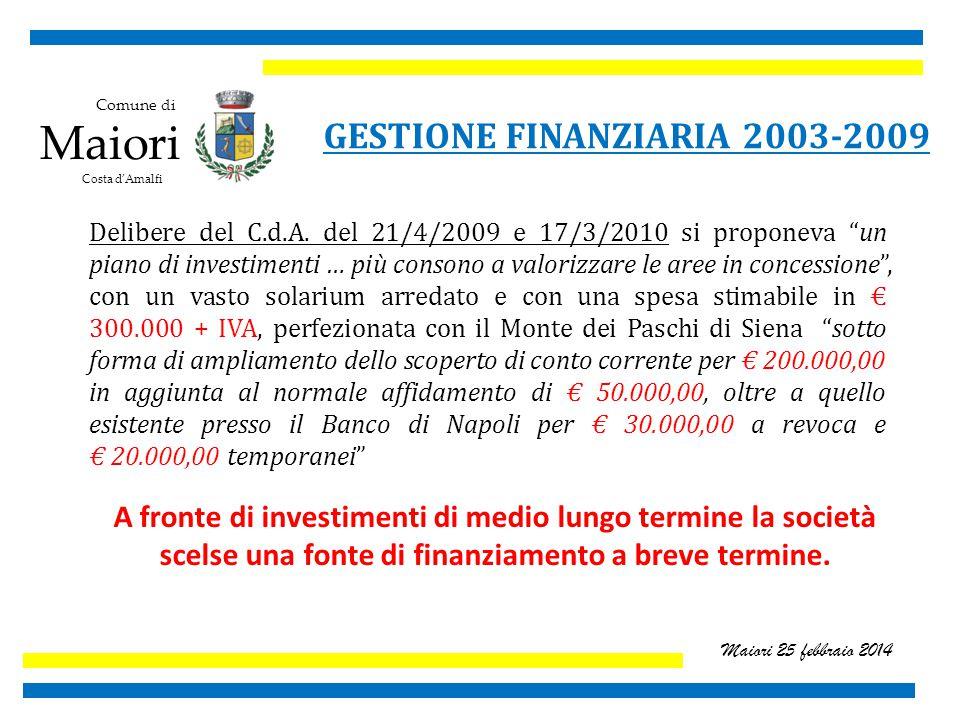 Comune di Maiori Costa d'Amalfi Maiori 25 febbraio 2014 GESTIONE FINANZIARIA 2003-2009 Delibere del C.d.A.