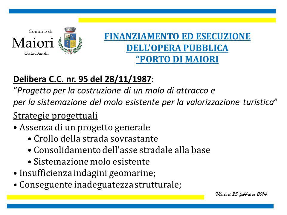 Comune di Maiori Costa d'Amalfi Maiori 25 febbraio 2014 FINANZIAMENTO ED ESECUZIONE DELL'OPERA PUBBLICA PORTO DI MAIORI Delibera C.C.
