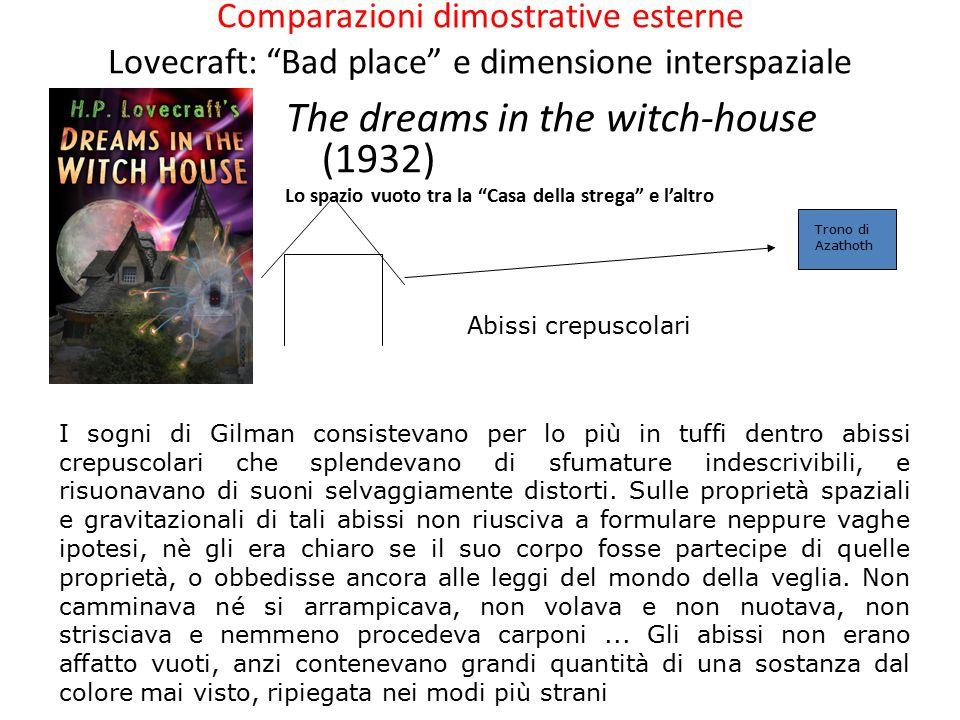 Comparazioni dimostrative esterne Lovecraft: Bad place e dimensione interspaziale The dreams in the witch-house (1932) Lo spazio vuoto tra la Casa della strega e l'altro Abissi crepuscolari Trono di Azathoth I sogni di Gilman consistevano per lo più in tuffi dentro abissi crepuscolari che splendevano di sfumature indescrivibili, e risuonavano di suoni selvaggiamente distorti.