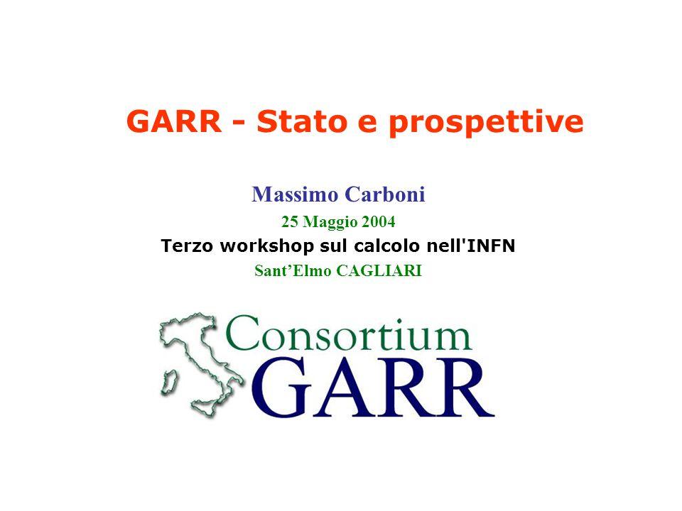 25/05/2004Massimo Carboni32 Stato del progetto IPv6 Le attivita principali hanno riguardato: Protocolli di routing, ricreando una infrastruttura di routing che ricalca quella attualmente in uso sulla rete GARR e attivando peering con altre istituzioni di ricerca in ambito Italiano ed Europeo.
