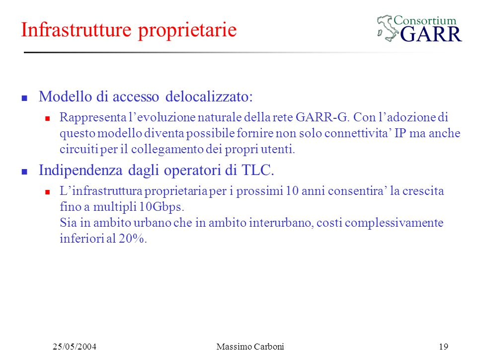 25/05/2004Massimo Carboni19 Infrastrutture proprietarie Modello di accesso delocalizzato: Rappresenta l'evoluzione naturale della rete GARR-G. Con l'a