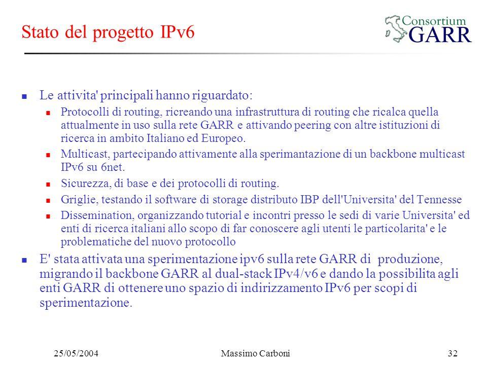25/05/2004Massimo Carboni32 Stato del progetto IPv6 Le attivita' principali hanno riguardato: Protocolli di routing, ricreando una infrastruttura di r
