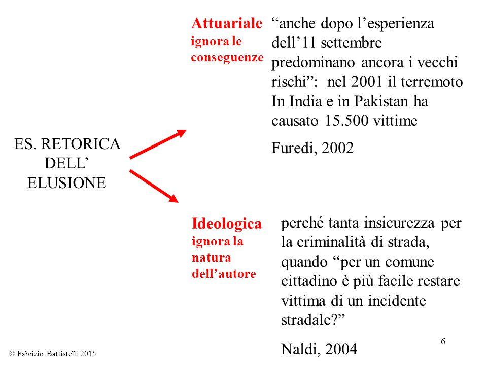 """6 ES. RETORICA DELL' ELUSIONE Attuariale ignora le conseguenze Ideologica ignora la natura dell'autore © Fabrizio Battistelli 2015 """"anche dopo l'esper"""