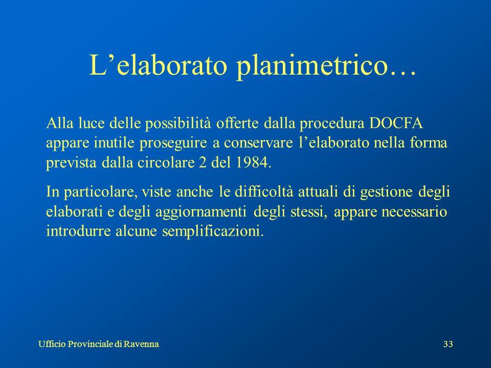 Ufficio Provinciale di Ravenna33 L'elaborato planimetrico… Alla luce delle possibilità offerte dalla procedura DOCFA appare inutile proseguire a conse