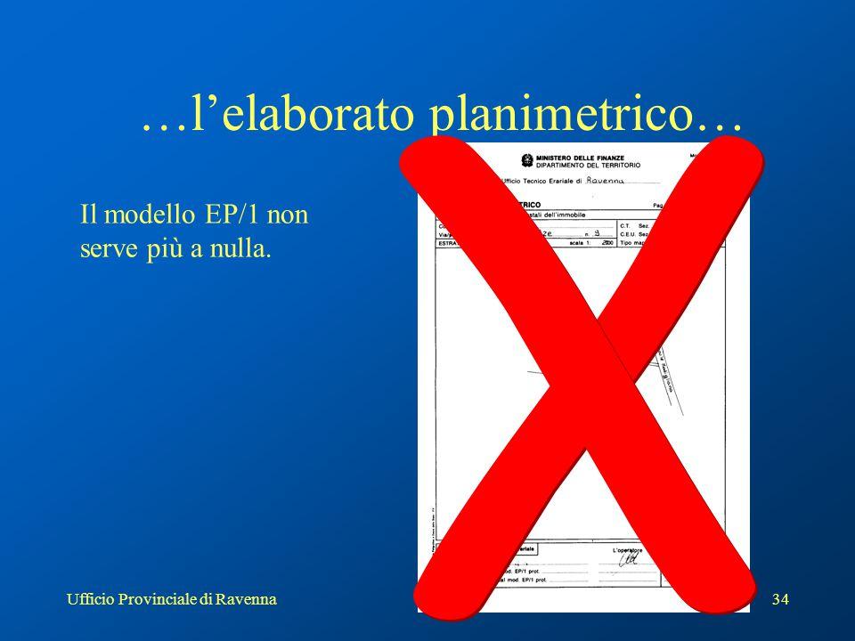 Ufficio Provinciale di Ravenna34 …l'elaborato planimetrico… Il modello EP/1 non serve più a nulla.