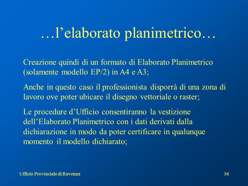 Ufficio Provinciale di Ravenna36 …l'elaborato planimetrico… Creazione quindi di un formato di Elaborato Planimetrico (solamente modello EP/2) in A4 e