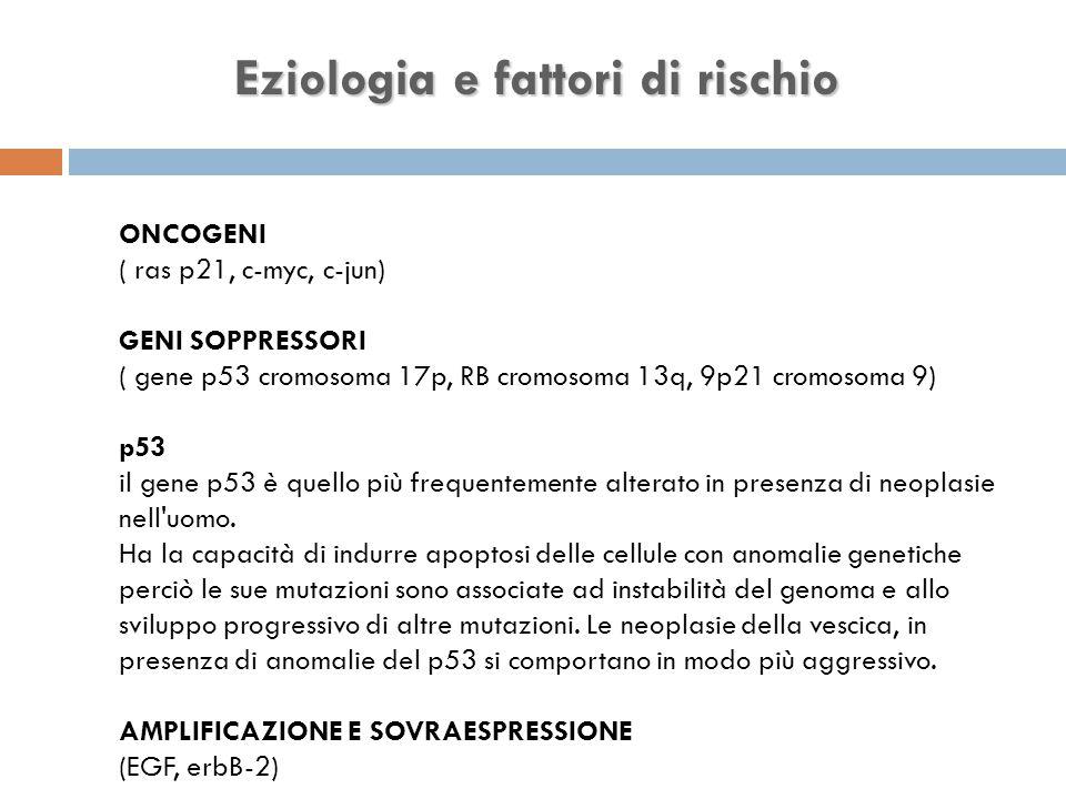 Eziologia e fattori di rischio ONCOGENI ( ras p21, c-myc, c-jun) GENI SOPPRESSORI ( gene p53 cromosoma 17p, RB cromosoma 13q, 9p21 cromosoma 9) p53 il gene p53 è quello più frequentemente alterato in presenza di neoplasie nell uomo.