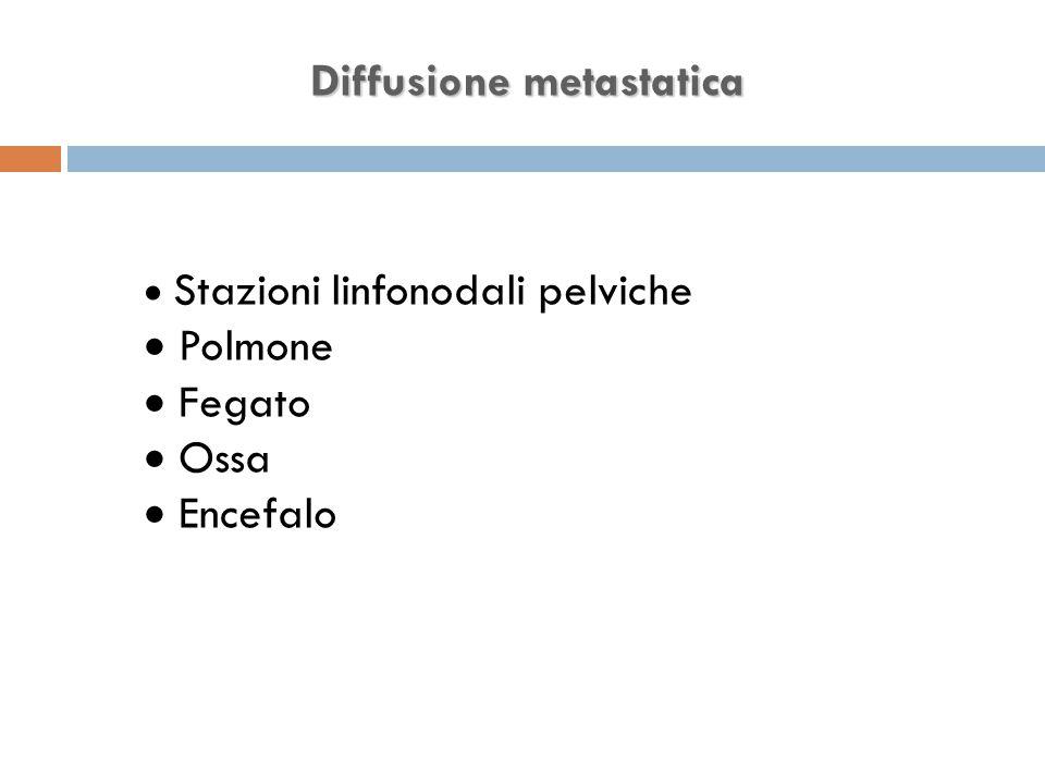 Diffusione metastatica  Stazioni linfonodali pelviche  Polmone  Fegato  Ossa  Encefalo