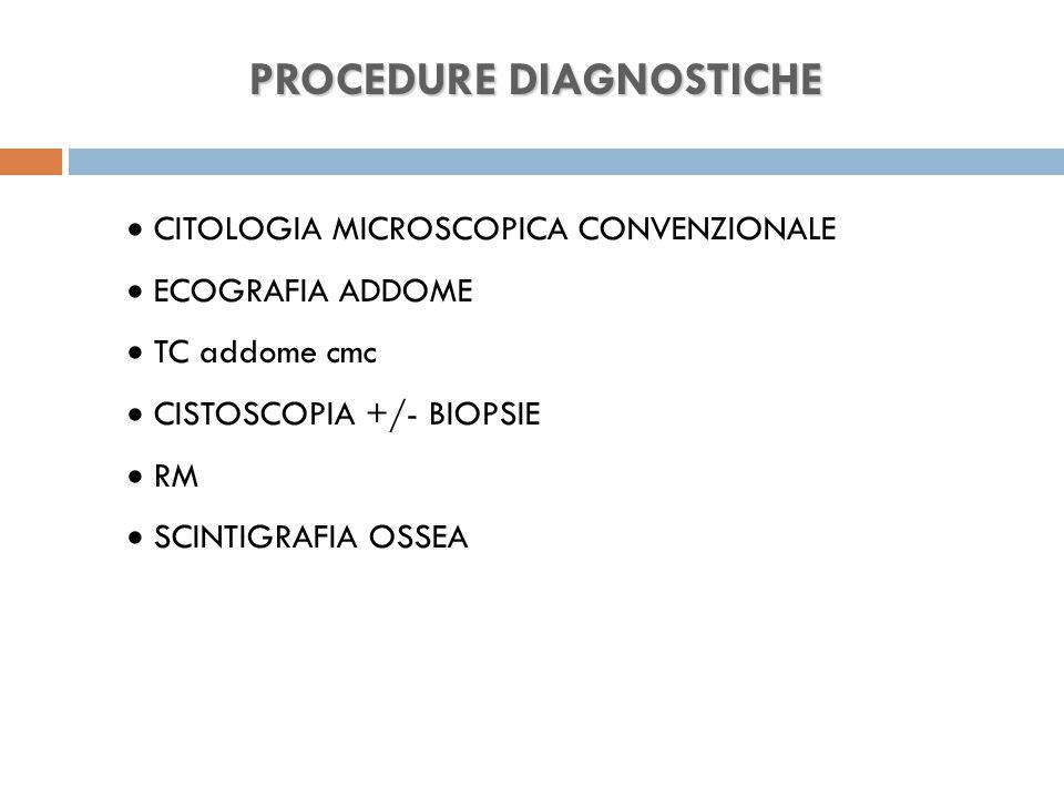 PROCEDURE DIAGNOSTICHE  CITOLOGIA MICROSCOPICA CONVENZIONALE  ECOGRAFIA ADDOME  TC addome cmc  CISTOSCOPIA +/- BIOPSIE  RM  SCINTIGRAFIA OSSEA