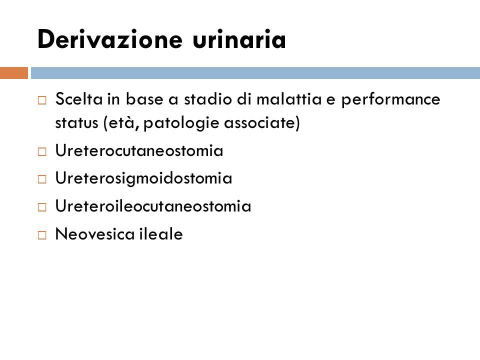 Derivazione urinaria  Scelta in base a stadio di malattia e performance status (età, patologie associate)  Ureterocutaneostomia  Ureterosigmoidostomia  Ureteroileocutaneostomia  Neovesica ileale