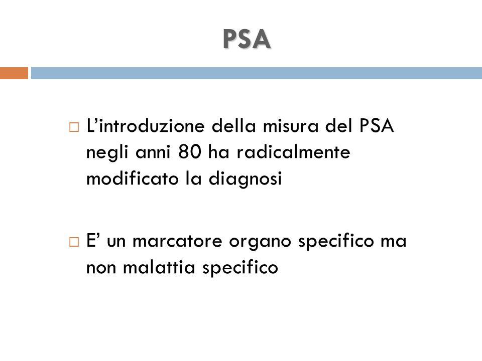 PSA  L'introduzione della misura del PSA negli anni 80 ha radicalmente modificato la diagnosi  E' un marcatore organo specifico ma non malattia specifico