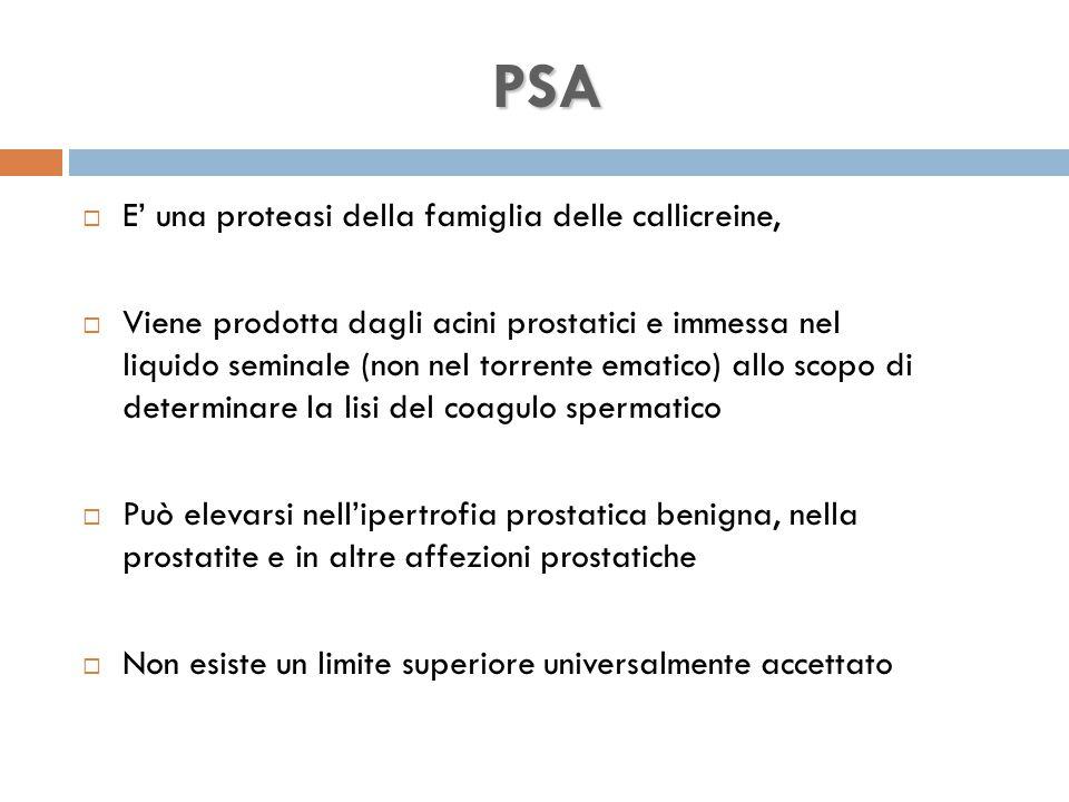  E' una proteasi della famiglia delle callicreine,  Viene prodotta dagli acini prostatici e immessa nel liquido seminale (non nel torrente ematico) allo scopo di determinare la lisi del coagulo spermatico  Può elevarsi nell'ipertrofia prostatica benigna, nella prostatite e in altre affezioni prostatiche  Non esiste un limite superiore universalmente accettato PSA