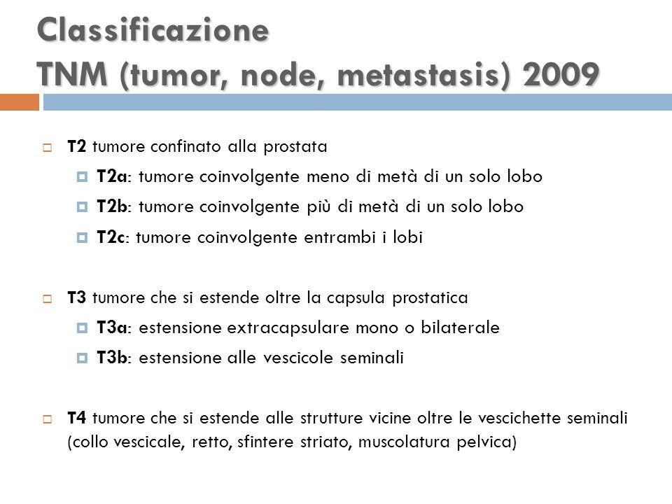  T2 tumore confinato alla prostata  T2a: tumore coinvolgente meno di metà di un solo lobo  T2b: tumore coinvolgente più di metà di un solo lobo  T2c: tumore coinvolgente entrambi i lobi  T3 tumore che si estende oltre la capsula prostatica  T3a: estensione extracapsulare mono o bilaterale  T3b: estensione alle vescicole seminali  T4 tumore che si estende alle strutture vicine oltre le vescichette seminali (collo vescicale, retto, sfintere striato, muscolatura pelvica) Classificazione TNM (tumor, node, metastasis) 2009