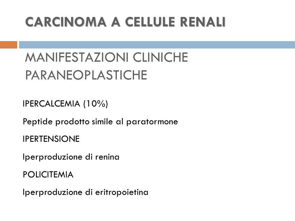 CARCINOMA A CELLULE RENALI CARCINOMA A CELLULE RENALI MANIFESTAZIONI CLINICHE PARANEOPLASTICHE IPERCALCEMIA (10%) Peptide prodotto simile al paratormone IPERTENSIONE Iperproduzione di renina POLICITEMIA Iperproduzione di eritropoietina