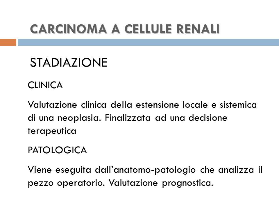 CARCINOMA A CELLULE RENALI CARCINOMA A CELLULE RENALI STADIAZIONE CLINICA Valutazione clinica della estensione locale e sistemica di una neoplasia.