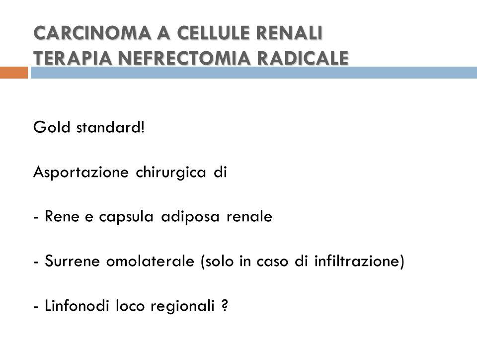 CARCINOMA A CELLULE RENALI TERAPIA NEFRECTOMIA RADICALE CARCINOMA A CELLULE RENALI TERAPIA NEFRECTOMIA RADICALE Gold standard.