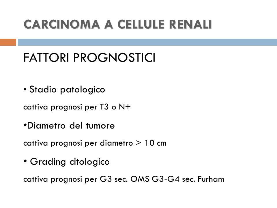 CARCINOMA A CELLULE RENALI CARCINOMA A CELLULE RENALI FATTORI PROGNOSTICI Stadio patologico cattiva prognosi per T3 o N+ Diametro del tumore cattiva prognosi per diametro > 10 cm Grading citologico cattiva prognosi per G3 sec.