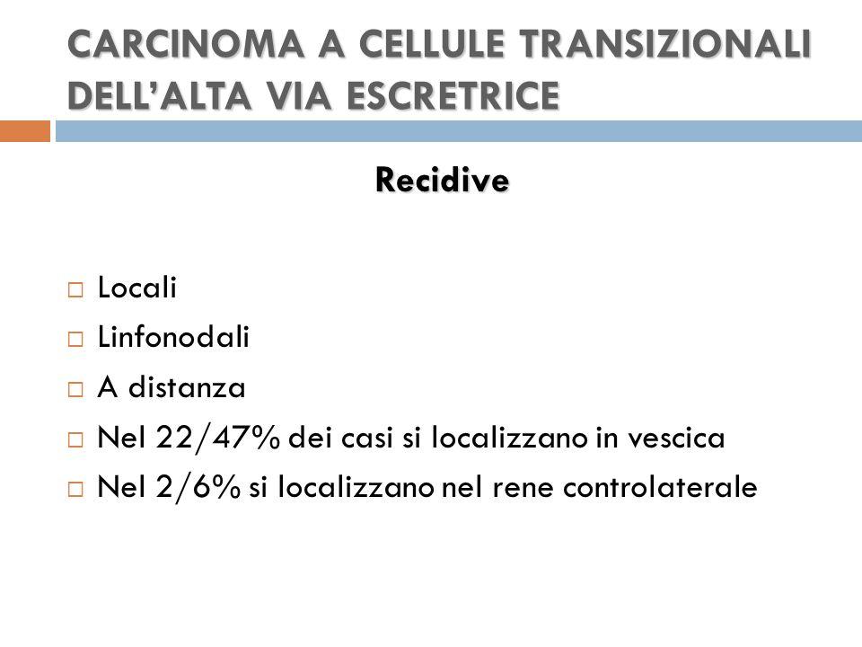 CARCINOMA A CELLULE TRANSIZIONALI DELL'ALTA VIA ESCRETRICE Recidive  Locali  Linfonodali  A distanza  Nel 22/47% dei casi si localizzano in vescica  Nel 2/6% si localizzano nel rene controlaterale
