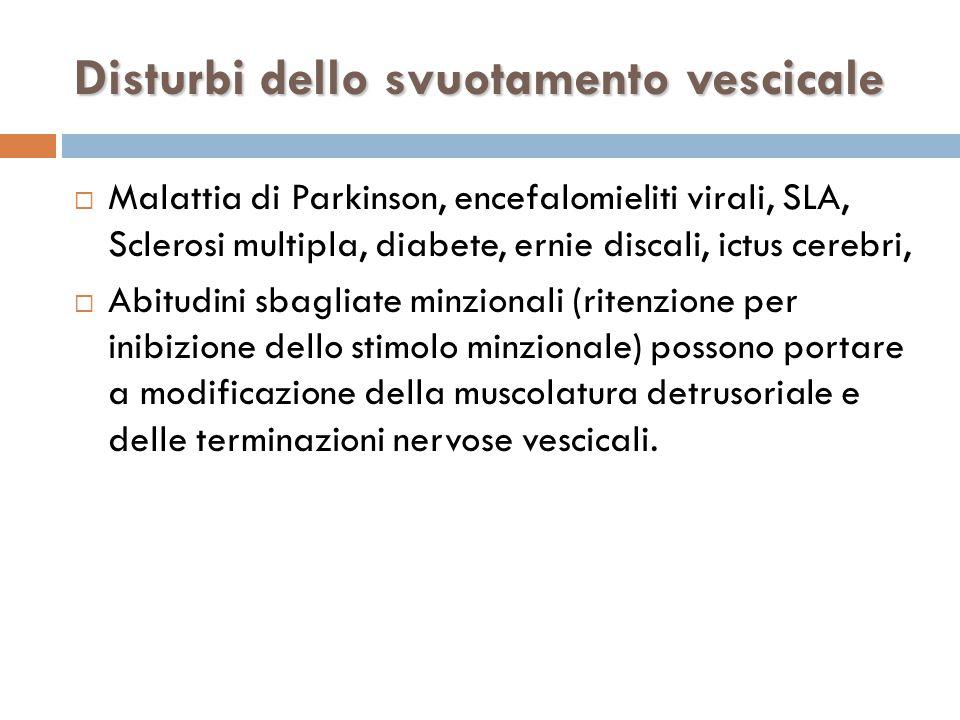  Malattia di Parkinson, encefalomieliti virali, SLA, Sclerosi multipla, diabete, ernie discali, ictus cerebri,  Abitudini sbagliate minzionali (ritenzione per inibizione dello stimolo minzionale) possono portare a modificazione della muscolatura detrusoriale e delle terminazioni nervose vescicali.