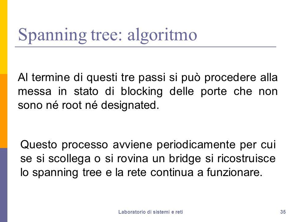 35 Spanning tree: algoritmo Al termine di questi tre passi si può procedere alla messa in stato di blocking delle porte che non sono né root né designated.