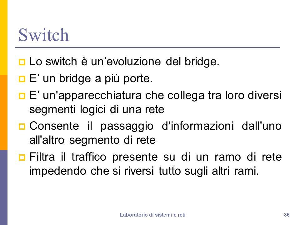 36 Switch  Lo switch è un'evoluzione del bridge. E' un bridge a più porte.