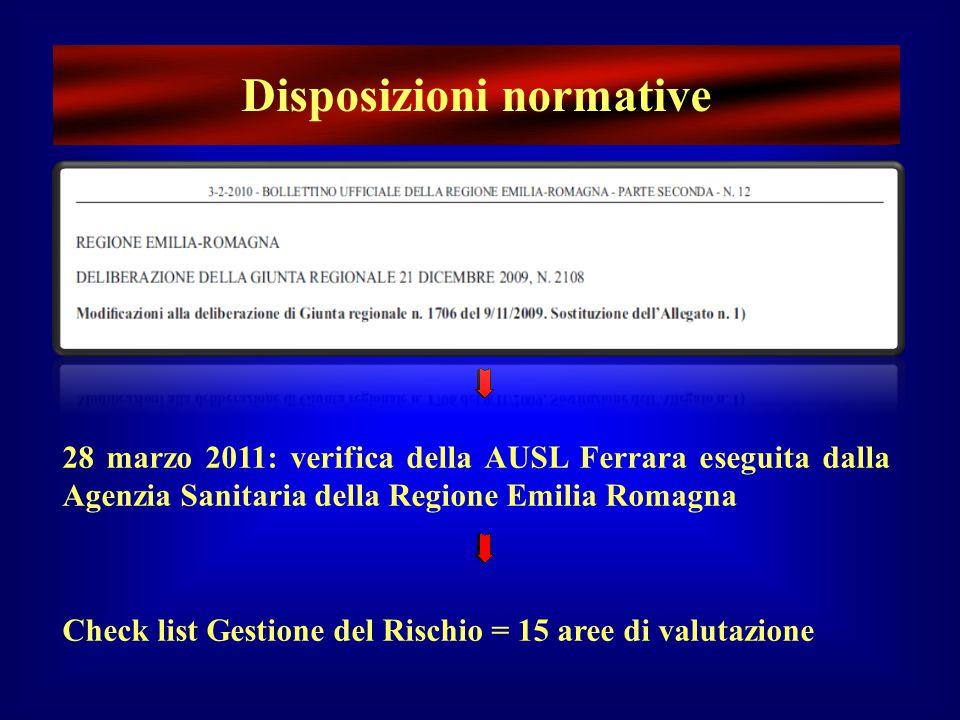Disposizioni normative 28 marzo 2011: verifica della AUSL Ferrara eseguita dalla Agenzia Sanitaria della Regione Emilia Romagna Check list Gestione de
