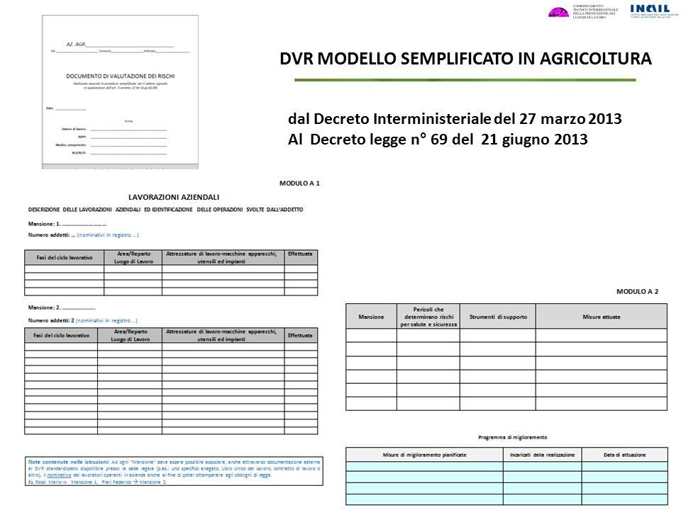 DVR MODELLO SEMPLIFICATO IN AGRICOLTURA dal Decreto Interministeriale del 27 marzo 2013 Al Decreto legge n° 69 del 21 giugno 2013