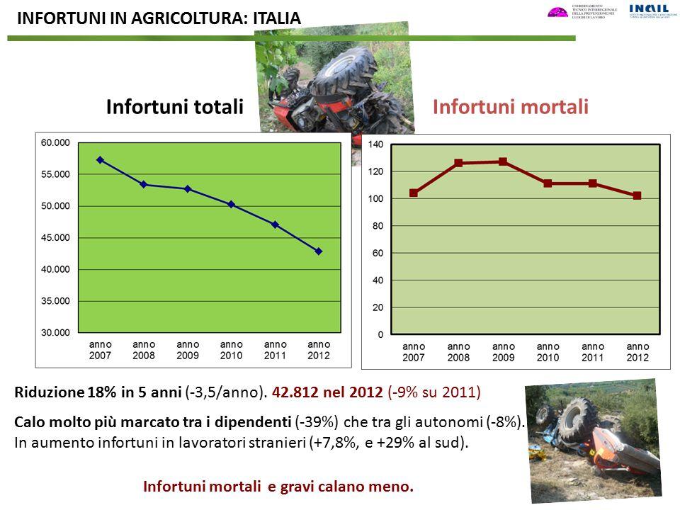 Infortuni totaliInfortuni mortali Riduzione 18% in 5 anni (-3,5/anno). 42.812 nel 2012 (-9% su 2011) Calo molto più marcato tra i dipendenti (-39%) ch