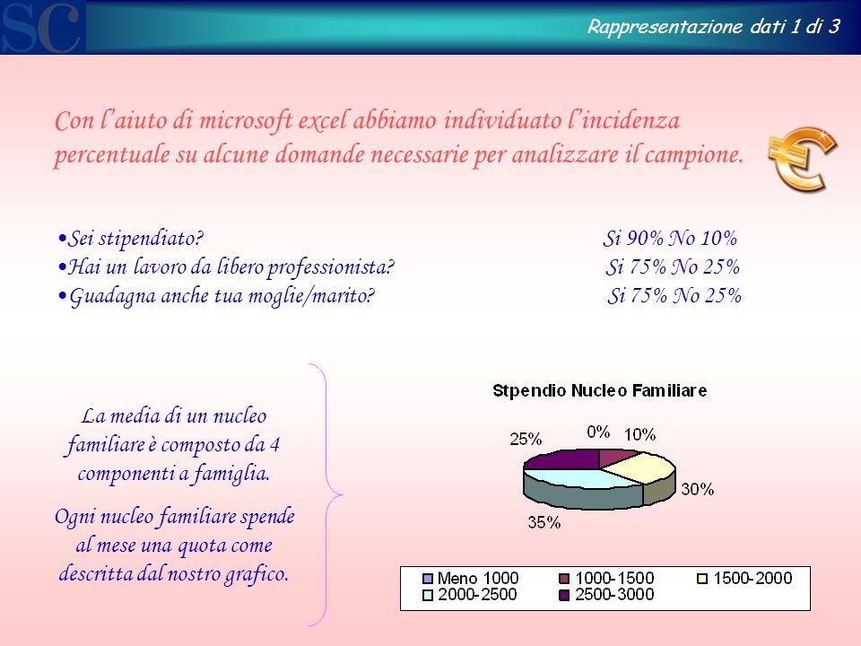 Con l'aiuto di microsoft excel abbiamo individuato l'incidenza percentuale su alcune domande necessarie per analizzare il campione.