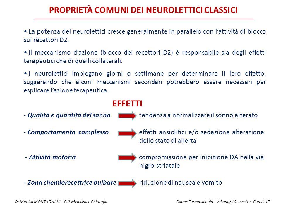 PROPRIETÀ COMUNI DEI NEUROLETTICI CLASSICI La potenza dei neurolettici cresce generalmente in parallelo con l'attività di blocco sui recettori D2. Il