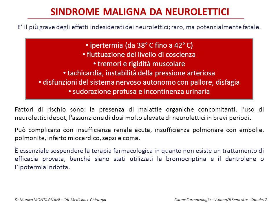 SINDROME MALIGNA DA NEUROLETTICI E' il più grave degli effetti indesiderati dei neurolettici; raro, ma potenzialmente fatale. ipertermia (da 38° C fin