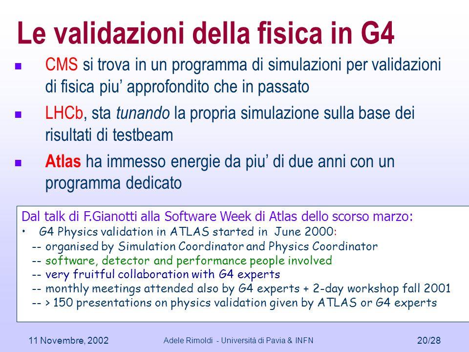 11 Novembre, 2002 Adele Rimoldi - Università di Pavia & INFN 20/28 Le validazioni della fisica in G4 CMS si trova in un programma di simulazioni per v
