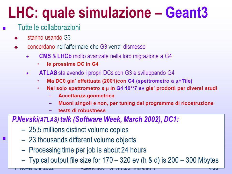 11 Novembre, 2002 Adele Rimoldi - Università di Pavia & INFN 5/28 LHC quale simulazione – Geant4 Tutte le collaborazioni  sono concordi in maggioranza nella scelta di G4  Si sono impegnate nel programma di passaggio a G4  richiedono che G4 sia piu' (specialmente) focalizzato ai bisogni di LHC  richiedono che il programma di fisica sia piu' indirizzato ai bisogni di LHC  soffrono per insufficienza di modularita' o mancanza di funzionalita' interattive  Cura attuata: uso di home-grown facilities (Iguana,Panoramix,Root)  cercano di adattare il G4Framework ai propri desiderata smontandolo e ad usarlo come un reale toolkit  Event generation, user actions, physics lists
