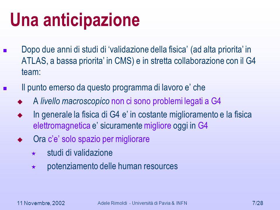 11 Novembre, 2002 Adele Rimoldi - Università di Pavia & INFN 7/28 Una anticipazione Dopo due anni di studi di 'validazione della fisica' (ad alta prio