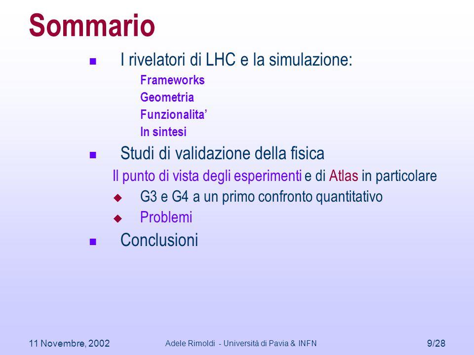 11 Novembre, 2002 Adele Rimoldi - Università di Pavia & INFN 9/28 Sommario I rivelatori di LHC e la simulazione: Frameworks Geometria Funzionalita' In