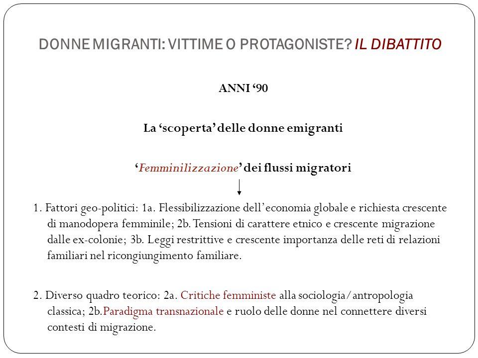 DONNE MIGRANTI: VITTIME O PROTAGONISTE? IL DIBATTITO ANNI '90 La 'scoperta' delle donne emigranti 'Femminilizzazione' dei flussi migratori 1. Fattori