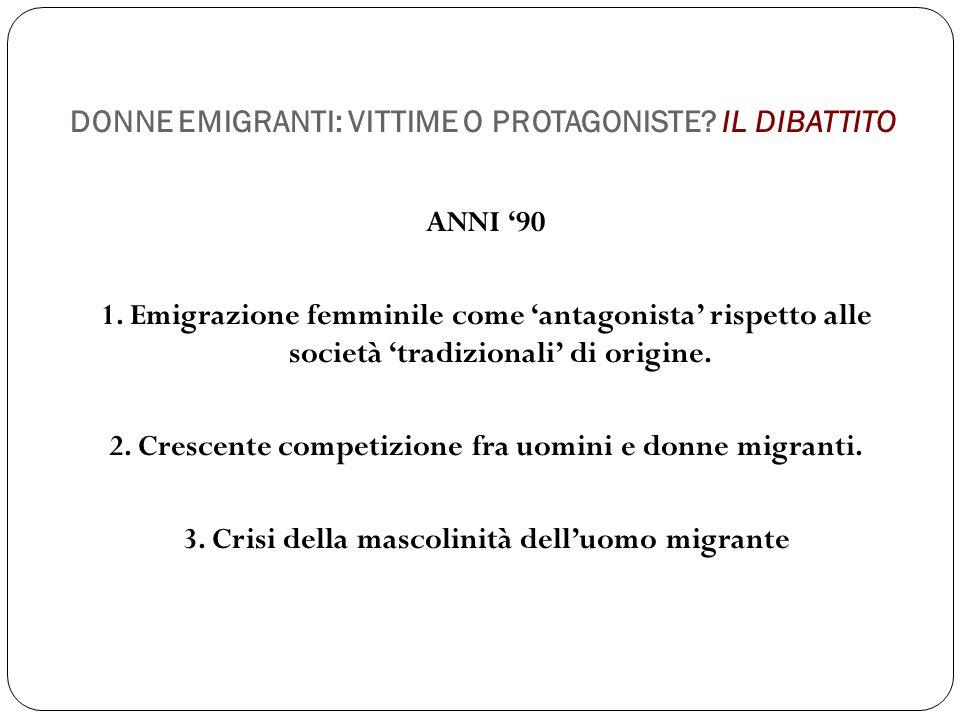 DONNE EMIGRANTI: VITTIME O PROTAGONISTE? IL DIBATTITO ANNI '90 1. Emigrazione femminile come 'antagonista' rispetto alle società 'tradizionali' di ori