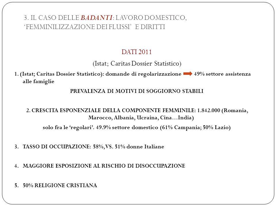 3. IL CASO DELLE BADANTI: LAVORO DOMESTICO, 'FEMMINILIZZAZIONE DEI FLUSSI' E DIRITTI DATI 2011 (Istat; Caritas Dossier Statistico) 1. (Istat; Caritas