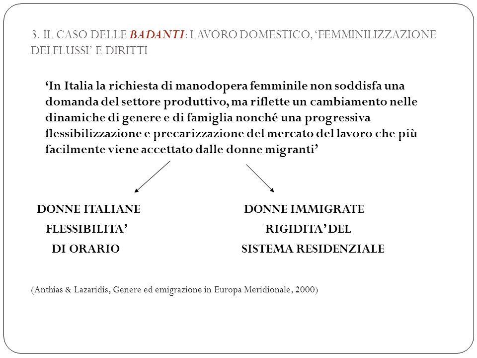 3. IL CASO DELLE BADANTI: LAVORO DOMESTICO, 'FEMMINILIZZAZIONE DEI FLUSSI' E DIRITTI 'In Italia la richiesta di manodopera femminile non soddisfa una