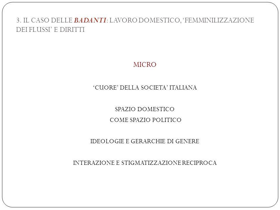3. IL CASO DELLE BADANTI: LAVORO DOMESTICO, 'FEMMINILIZZAZIONE DEI FLUSSI' E DIRITTI MICRO 'CUORE' DELLA SOCIETA' ITALIANA SPAZIO DOMESTICO COME SPAZI