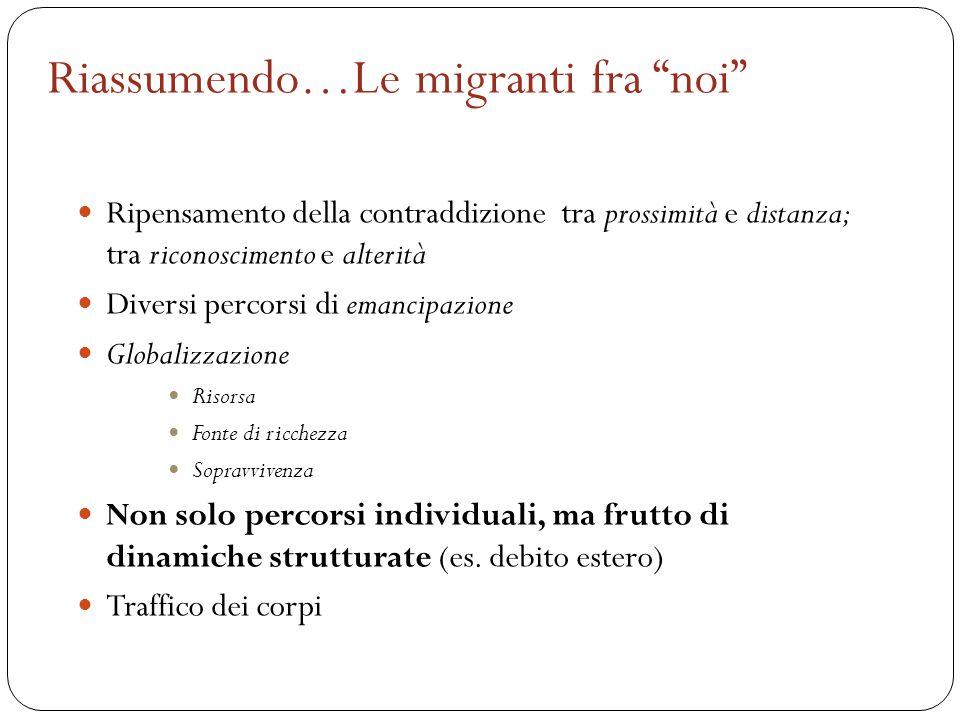 """Riassumendo…Le migranti fra """"noi"""" Ripensamento della contraddizione tra prossimità e distanza; tra riconoscimento e alterità Diversi percorsi di emanc"""