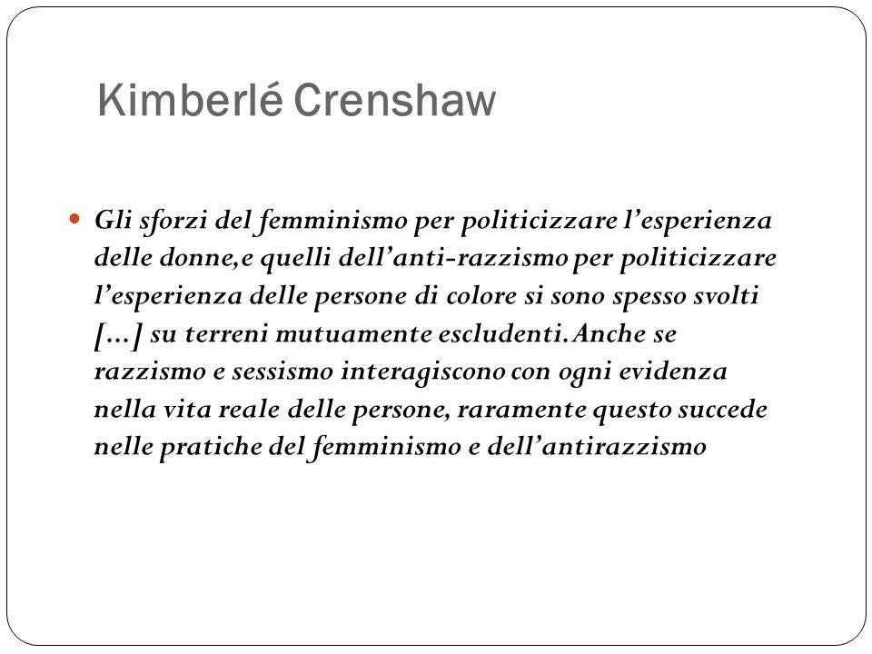 Kimberlé Crenshaw Gli sforzi del femminismo per politicizzare l'esperienza delle donne,e quelli dell'anti-razzismo per politicizzare l'esperienza dell