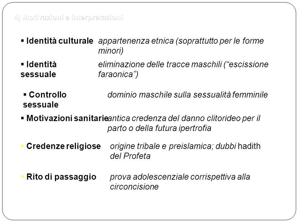 4) Motivazioni e interpretazioni  Rito di passaggio  Identità culturaleappartenenza etnica (soprattutto per le forme minori)  Identità sessuale eli