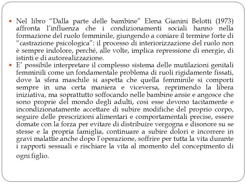 """Nel libro """"Dalla parte delle bambine"""" Elena Gianini Belotti (1973) affronta l'influenza che i condizionamenti sociali hanno nella formazione del ruolo"""