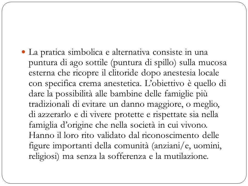 La pratica simbolica e alternativa consiste in una puntura di ago sottile (puntura di spillo) sulla mucosa esterna che ricopre il clitoride dopo anest