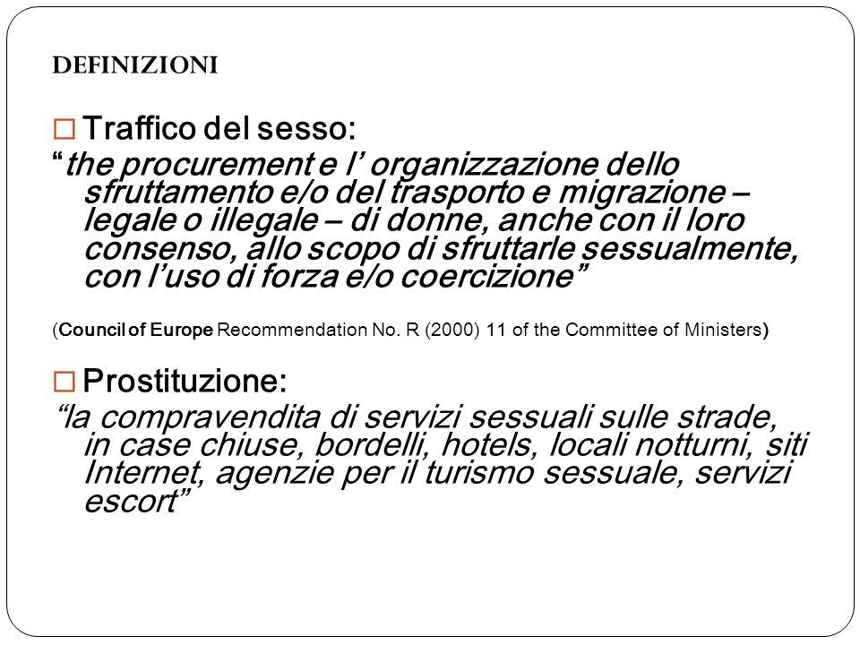 """DEFINIZIONI  Traffico del sesso: """"the procurement e l' organizzazione dello sfruttamento e/o del trasporto e migrazione – legale o illegale – di donn"""