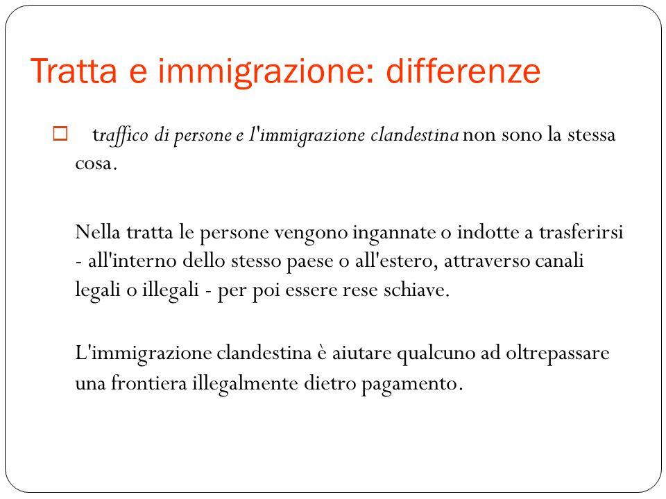 Tratta e immigrazione: differenze  Il traffico di persone e l'immigrazione clandestina non sono la stessa cosa. Nella tratta le persone vengono ingan