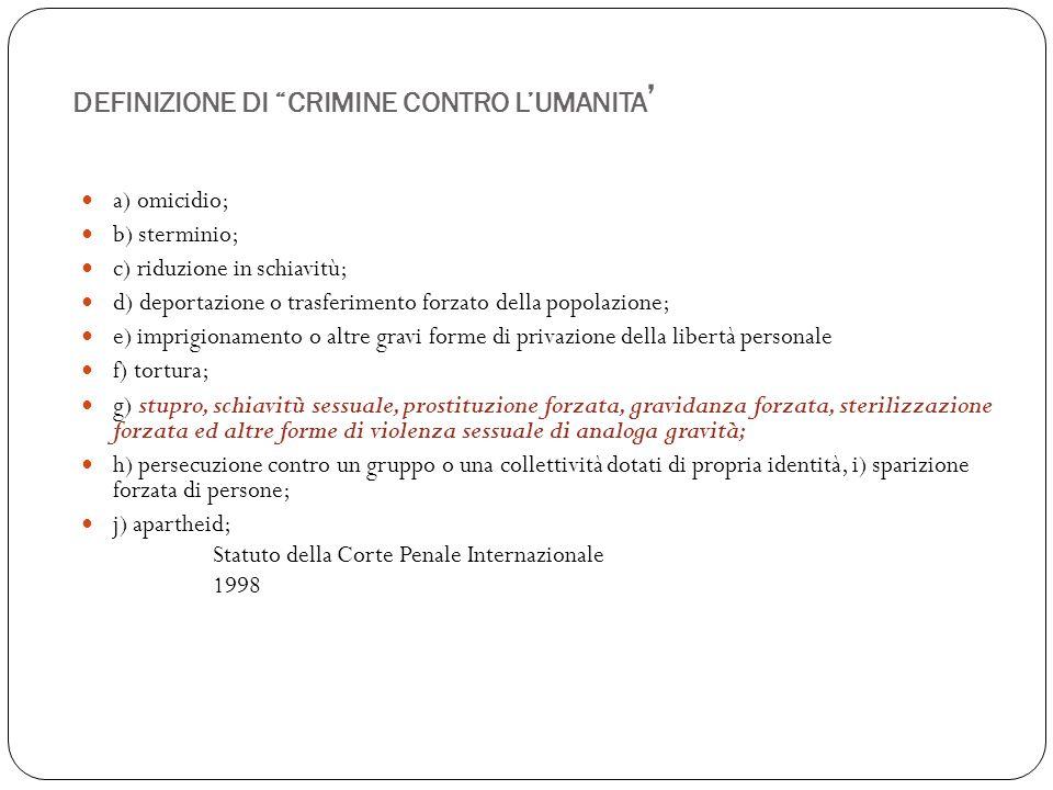 """DEFINIZIONE DI """"CRIMINE CONTRO L'UMANITA ' a) omicidio; b) sterminio; c) riduzione in schiavitù; d) deportazione o trasferimento forzato della popolaz"""
