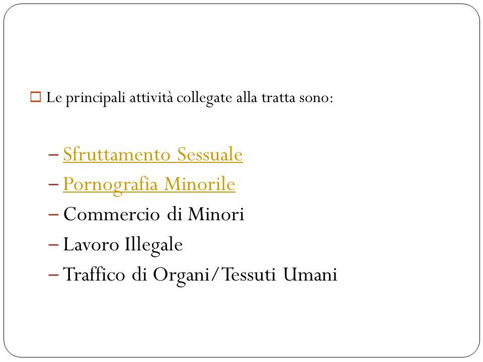 Attività Criminali Collegate alla Tratta di Persone  Le principali attività collegate alla tratta sono: – Sfruttamento Sessuale Sfruttamento Sessuale