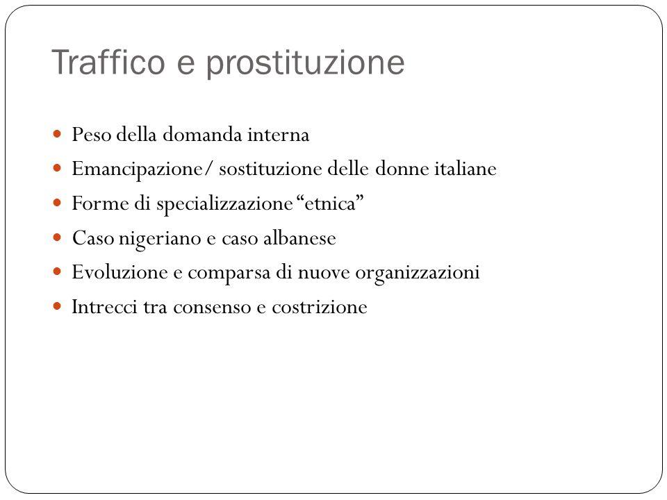 """Traffico e prostituzione Peso della domanda interna Emancipazione/ sostituzione delle donne italiane Forme di specializzazione """"etnica"""" Caso nigeriano"""